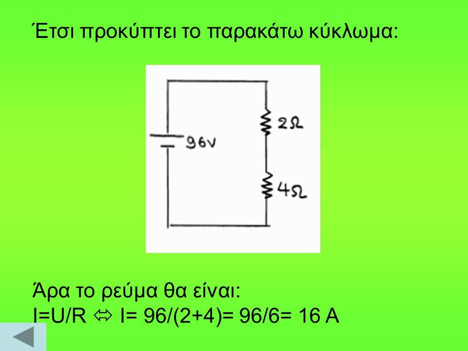Έτσι προκύπτει το παρακάτω κύκλωμα: Άρα το ρεύμα θα είναι: Ι=U/R  I= 96/(2+4)= 96/6= 16 A