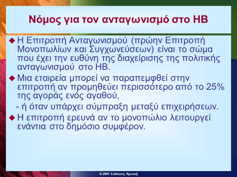 © 2007 Εκδόσεις Κριτική Νόμος για τον ανταγωνισμό στο ΗΒ  Η Επιτροπή Ανταγωνισμού (πρώην Επιτροπή Μονοπωλίων και Συγχωνεύσεων) είναι το σώμα που έχει την ευθύνη της διαχείρισης της πολιτικής ανταγωνισμού στο ΗΒ.