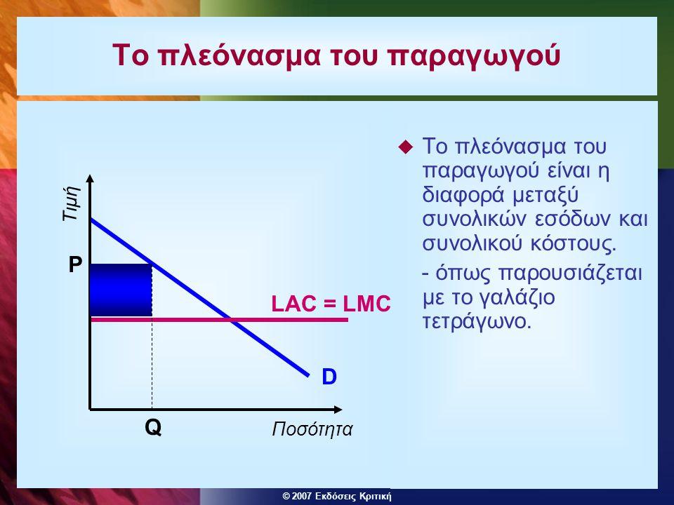 © 2007 Εκδόσεις Κριτική Το πλεόνασμα του παραγωγού  Το πλεόνασμα του παραγωγού είναι η διαφορά μεταξύ συνολικών εσόδων και συνολικού κόστους.