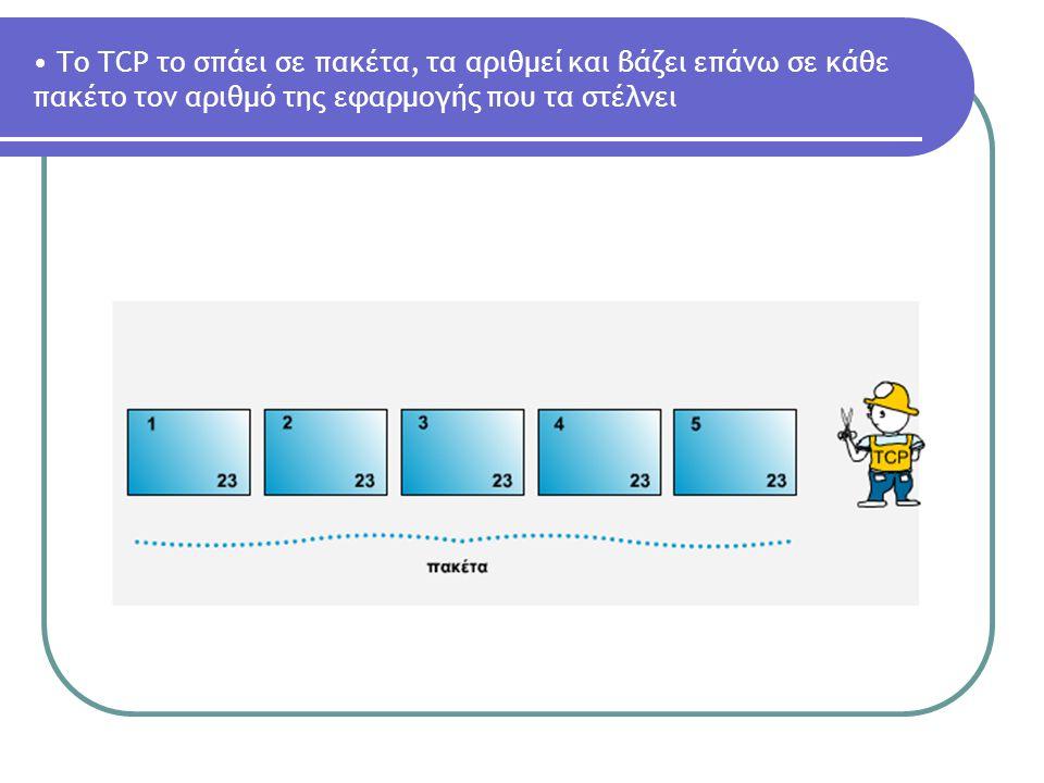 To TCP το σπάει σε πακέτα, τα αριθμεί και βάζει επάνω σε κάθε πακέτο τον αριθμό της εφαρμογής που τα στέλνει