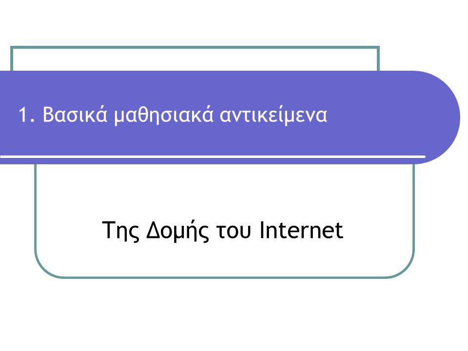 Της Δομής του Internet 1. Βασικά μαθησιακά αντικείμενα