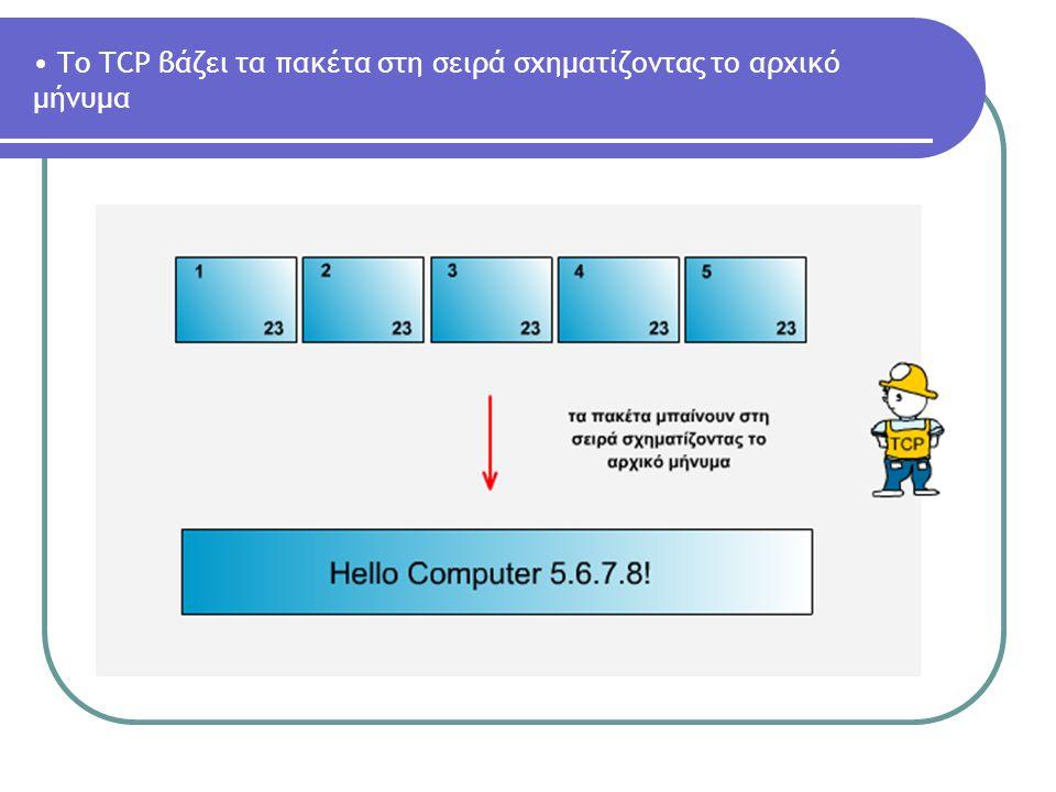 To TCP βάζει τα πακέτα στη σειρά σχηματίζοντας το αρχικό μήνυμα