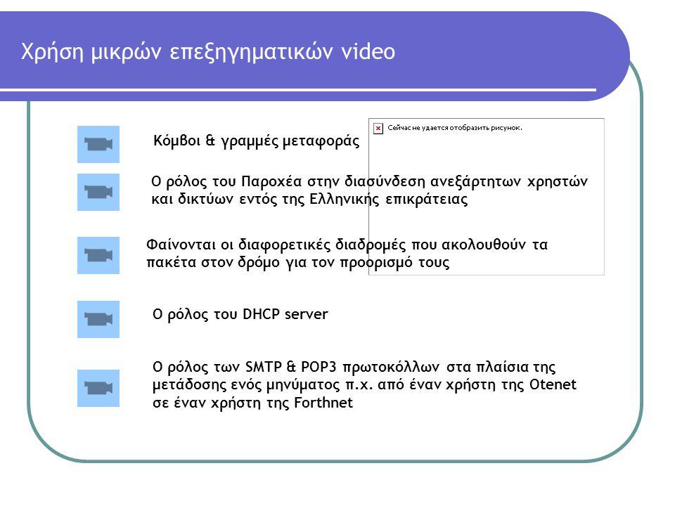 Χρήση μικρών επεξηγηματικών video Φαίνονται οι διαφορετικές διαδρομές που ακολουθούν τα πακέτα στον δρόμο για τον προορισμό τους Ο ρόλος του Παροχέα σ