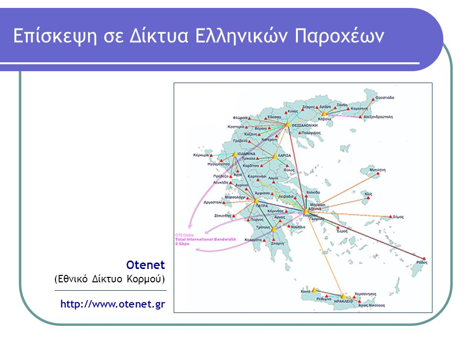 Eπίσκεψη σε Δίκτυα Ελληνικών Παροχέων Forthnet (Εθνικό Δίκτυο Κορμού) http://www.forthnet.g r