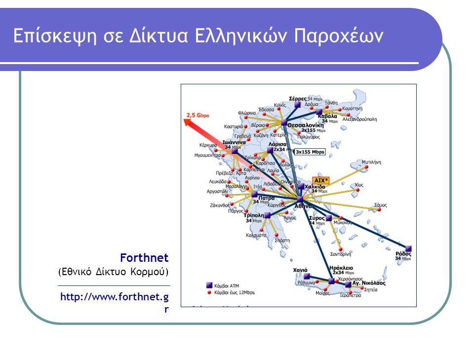 Αthens Internet Exchange (AΙΧ) Στη συνέχεια πρέπει να τονίζεται ο ρόλος του κόμβου ΑΙΧ στον οποίο συνδέονται τα δίκτυα όλων των μεγάλων Ελληνικών Παροχέων με σκοπό την ανταλλαγή κίνησης μεταξύ τους και άρα την ευκολότερη επικοινωνία μεταξύ των χρηστών τους.