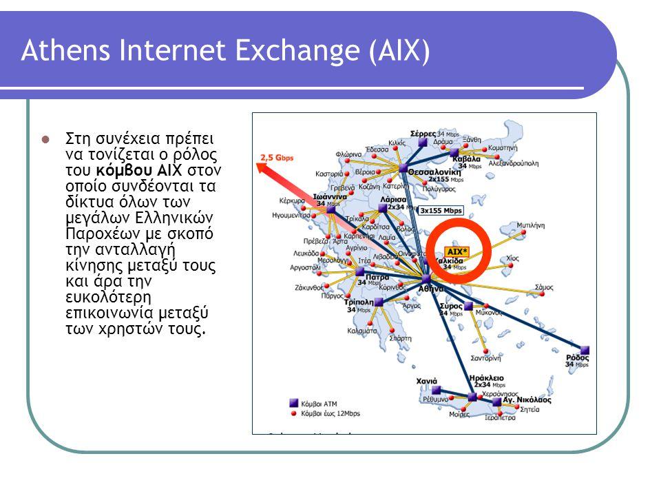 Αthens Internet Exchange (AΙΧ) Στη συνέχεια πρέπει να τονίζεται ο ρόλος του κόμβου ΑΙΧ στον οποίο συνδέονται τα δίκτυα όλων των μεγάλων Ελληνικών Παρο
