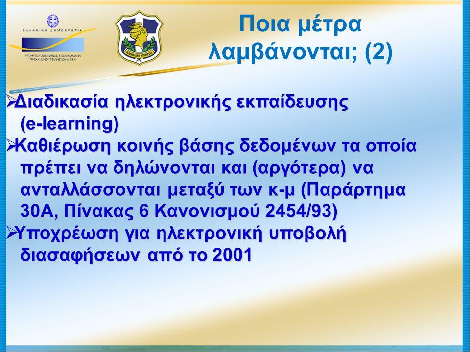 Ποια μέτρα λαμβάνονται; (2)  Διαδικασία ηλεκτρονικής εκπαίδευσης (e-learning) (e-learning)  Καθιέρωση κοινής βάσης δεδομένων τα οποία πρέπει να δηλώ