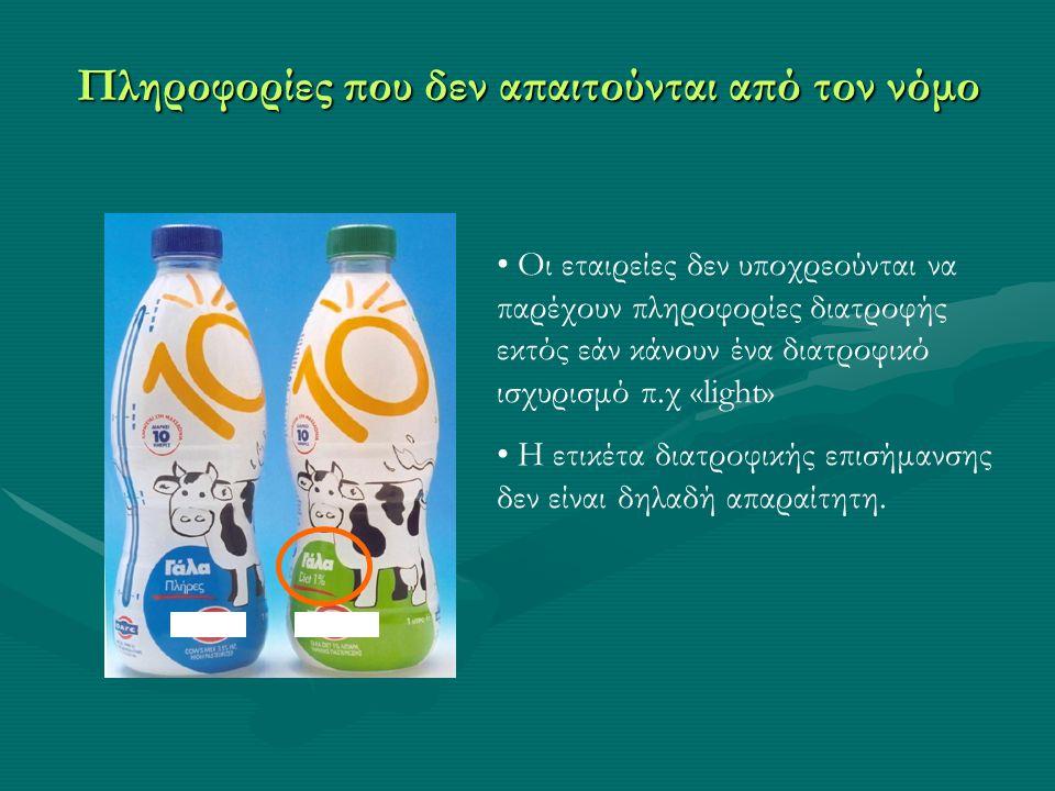 Παράδειγμα: Δημητριακά πρωινού Διατροφικές Πληροφορίες σε ένα τυπικό πακέτο Ανά 100g Ενέργεια (kcal)374 Πρωτεΐνες (g) 15 Υδατάνθρακες (g) 75 Σάκχαρα (g) 17 Λιπαρά (g) 1.5 Κορεσμένα (g)0.5 Εδώδιμες ίνες (g) 2.5 Νάτριο (g) 0.85 υψηλό, μέτριο ή χαμηλό; υψηλό χαμηλό υψηλό μέτριο