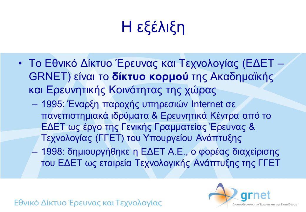 Η εξέλιξη Το Εθνικό Δίκτυο Έρευνας και Τεχνολογίας (ΕΔΕΤ – GRNET) είναι το δίκτυο κορμού της Ακαδημαϊκής και Ερευνητικής Κοινότητας της χώρας –1995: Έναρξη παροχής υπηρεσιών Internet σε πανεπιστημιακά ιδρύματα & Ερευνητικά Κέντρα από το ΕΔΕΤ ως έργο της Γενικής Γραμματείας Έρευνας & Τεχνολογίας (ΓΓΕΤ) του Υπουργείου Ανάπτυξης –1998: δημιουργήθηκε η ΕΔΕΤ Α.Ε., ο φορέας διαχείρισης του ΕΔΕΤ ως εταιρεία Τεχνολογικής Ανάπτυξης της ΓΓΕΤ