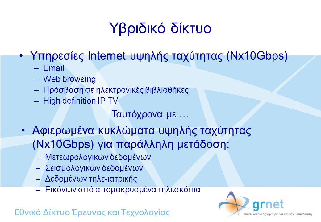 Υβριδικό δίκτυο Υπηρεσίες Internet υψηλής ταχύτητας (Nx10Gbps) –Email –Web browsing –Πρόσβαση σε ηλεκτρονικές βιβλιοθήκες –High definition IP TV Αφιερωμένα κυκλώματα υψηλής ταχύτητας (Nx10Gbps) για παράλληλη μετάδοση: –Μετεωρολογικών δεδομένων –Σεισμολογικών δεδομένων –Δεδομένων τηλε-ιατρικής –Εικόνων από απομακρυσμένα τηλεσκόπια Ταυτόχρονα με …