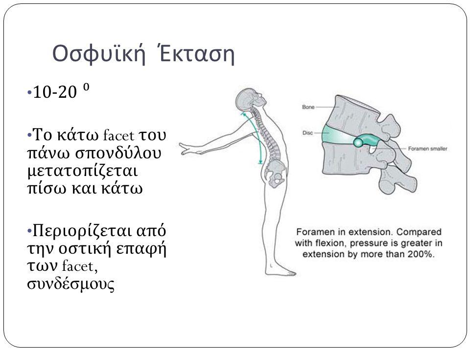 Οσφυϊκή Έκταση 10-20 ⁰ Το κάτω facet του πάνω σπονδύλου μετατοπίζεται πίσω και κάτω Περιορίζεται από την οστική επαφή των facet, συνδέσμους