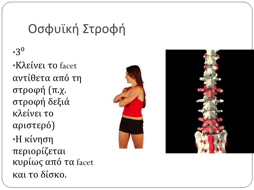 Οσφυϊκή Στροφή 3⁰ Κλείνει το facet αντίθετα από τη στροφή (π.χ. στροφή δεξιά κλείνει το αριστερό) Η κίνηση περιορίζεται κυρίως από τα facet και το δίσ