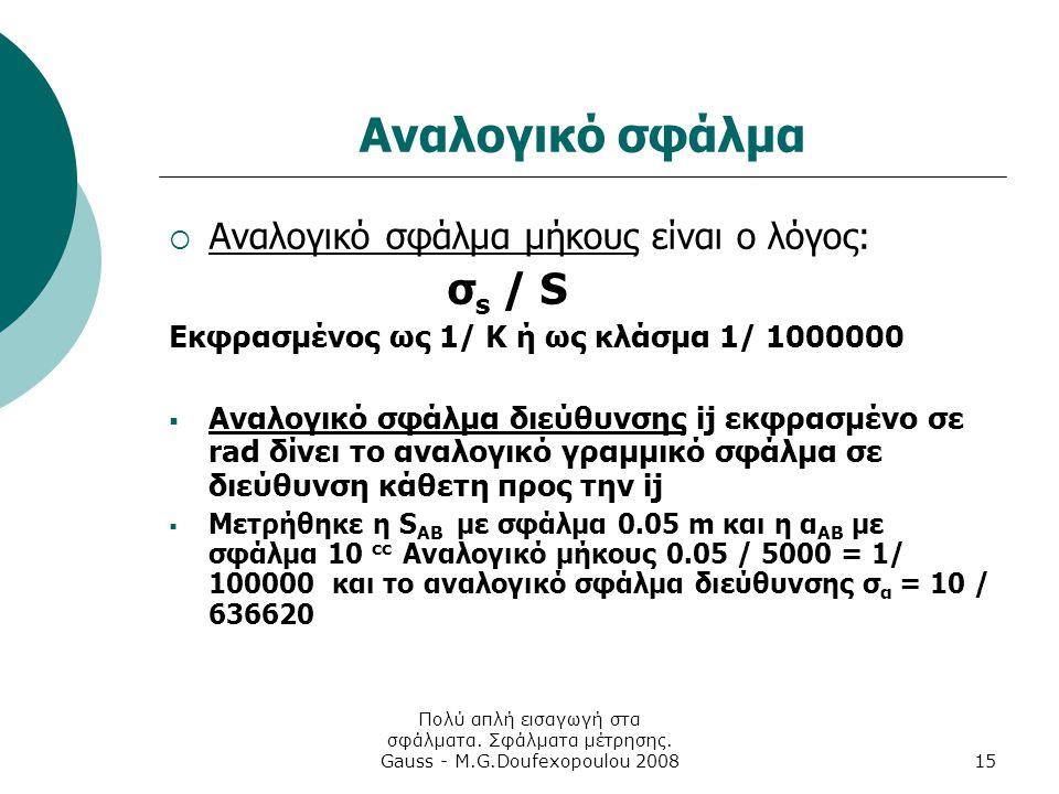 Πολύ απλή εισαγωγή στα σφάλματα. Σφάλματα μέτρησης. Gauss - M.G.Doufexopoulou 200815 Αναλογικό σφάλμα  Αναλογικό σφάλμα μήκους είναι ο λόγος: σ s / S