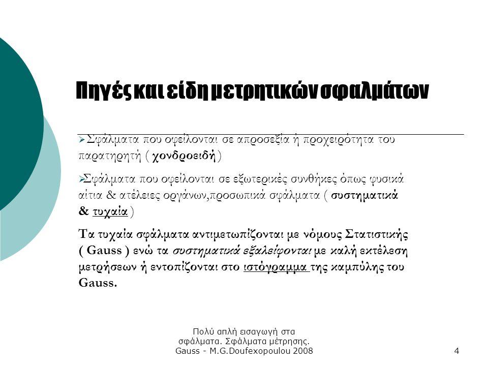 Πολύ απλή εισαγωγή στα σφάλματα. Σφάλματα μέτρησης. Gauss - M.G.Doufexopoulou 20084 Πηγές και είδη μετρητικών σφαλμάτων  Σφάλματα που οφείλονται σε α