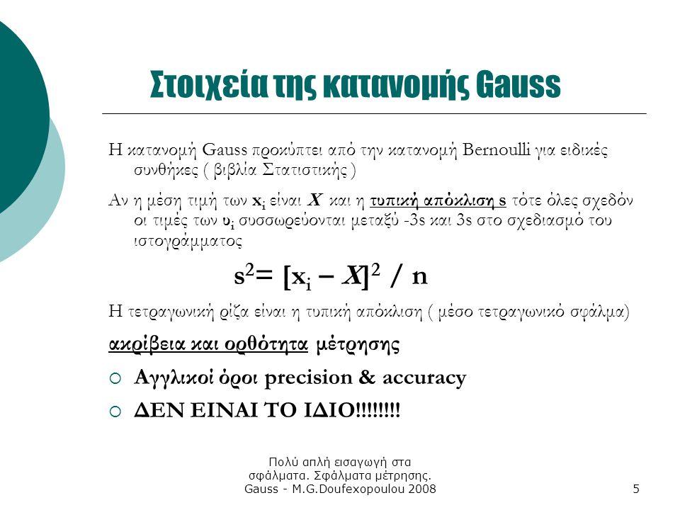 Πολύ απλή εισαγωγή στα σφάλματα. Σφάλματα μέτρησης. Gauss - M.G.Doufexopoulou 20085 Στοιχεία της κατανομής Gauss Η κατανομή Gauss προκύπτει από την κα