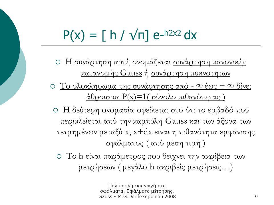 Πολύ απλή εισαγωγή στα σφάλματα. Σφάλματα μέτρησης. Gauss - M.G.Doufexopoulou 20089 P(x) = [ h / √π] e- h2x2 dx  Η συνάρτηση αυτή ονομάζεται συνάρτησ