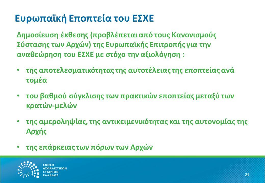 Ευρωπαϊκή Eποπτεία του ΕΣΧΕ Δημοσίευση έκθεσης (προβλέπεται από τους Κανονισμούς Σύστασης των Αρχών) της Ευρωπαϊκής Επιτροπής για την αναθεώρηση του ΕΣΧΕ με στόχο την αξιολόγηση : της αποτελεσματικότητας της αυτοτέλειας της εποπτείας ανά τομέα του βαθμού σύγκλισης των πρακτικών εποπτείας μεταξύ των κρατών-μελών της αμεροληψίας, της αντικειμενικότητας και της αυτονομίας της Αρχής της επάρκειας των πόρων των Αρχών 21