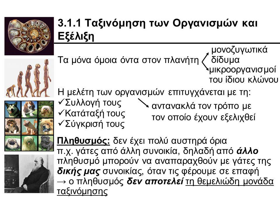 3.1.1 Ταξινόμηση των Οργανισμών και Εξέλιξη Τα μόνα όμοια όντα στον πλανήτη Η μελέτη των οργανισμών επιτυγχάνεται με τη: Συλλογή τους Κατάταξή τους Σύγκρισή τους μονοζυγωτικά δίδυμα μικροοργανισμοί του ίδιου κλώνου αντανακλά τον τρόπο με τον οποίο έχουν εξελιχθεί Πληθυσμός: δεν έχει πολύ αυστηρά όρια π.χ.