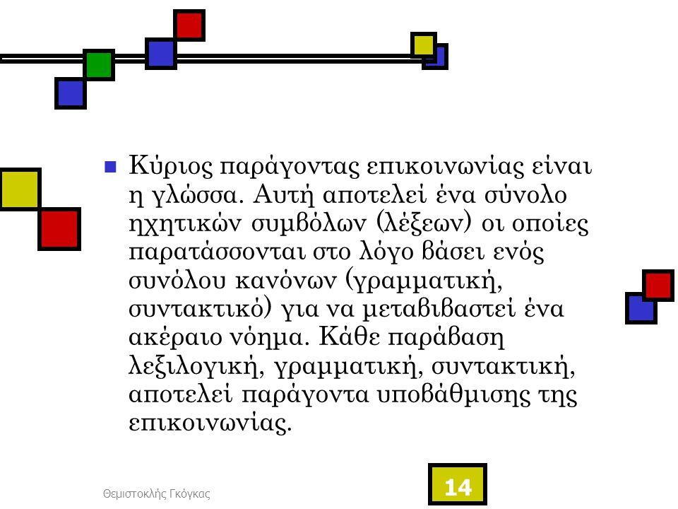 Θεμιστοκλής Γκόγκας 14 Κύριος παράγοντας επικοινωνίας είναι η γλώσσα. Αυτή αποτελεί ένα σύνολο ηχητικών συμβόλων (λέξεων) οι οποίες παρατάσσονται στο