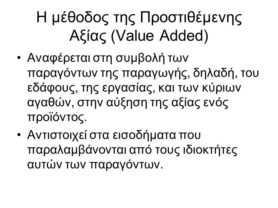 Η μέθοδος της Προστιθέμενης Αξίας (Value Added) Αναφέρεται στη συμβολή των παραγόντων της παραγωγής, δηλαδή, του εδάφους, της εργασίας, και των κύριων αγαθών, στην αύξηση της αξίας ενός προϊόντος.