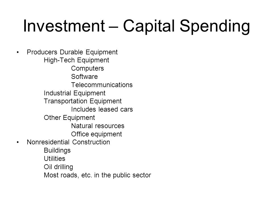 Investment – Capital Spending Producers Durable Equipment High-Tech Equipment Computers Software Telecommunications Industrial Equipment Transportation Equipment Includes leased cars Other Equipment Natural resources Office equipment Nonresidential Construction Buildings Utilities Oil drilling Most roads, etc.