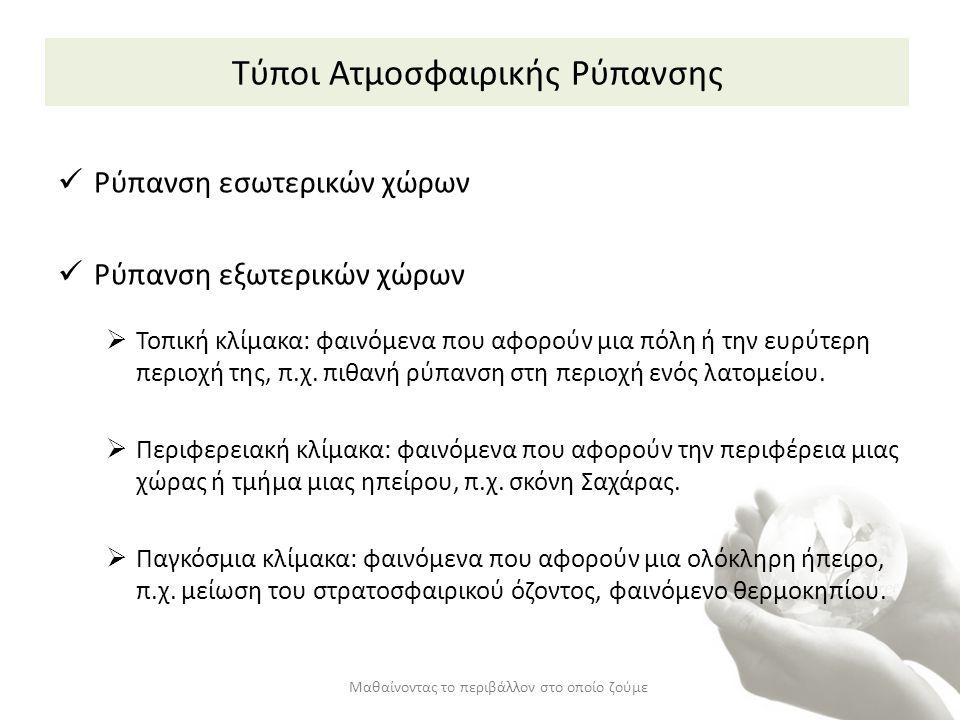 Πηγές Ατμοσφαιρικής Ρύπανσης (1/2) Εσωτερικοί χώροι: Καύσεις (καπνός τσιγάρου, θέρμανση με ξύλα ή πετρέλαιο, μαγείρεμα) Κτήριο και έπιπλα (κοντραπλακέ, μπογιές, κόλλες, χαλιά) Προϊόντα (εντομοκτόνα, καθαριστικά, σαπούνια) Από εξωτερικούς χώρους Μαθαίνοντας το περιβάλλον στο οποίο ζούμε