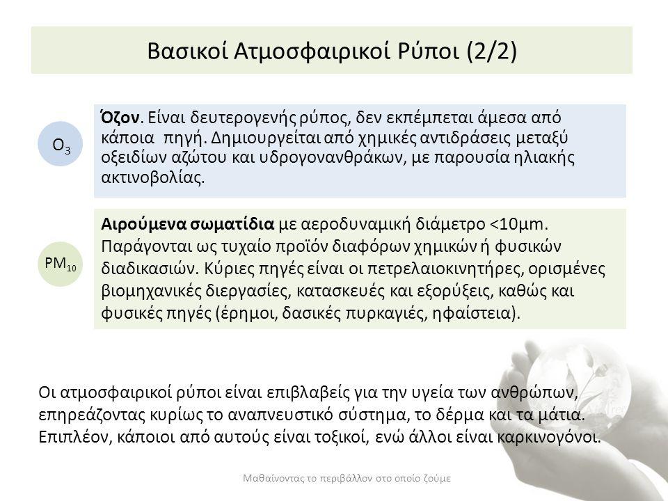 Βασικοί Ατμοσφαιρικοί Ρύποι (2/2) Μαθαίνοντας το περιβάλλον στο οποίο ζούμε Όζον. Είναι δευτερογενής ρύπος, δεν εκπέμπεται άμεσα από κάποια πηγή. Δημι