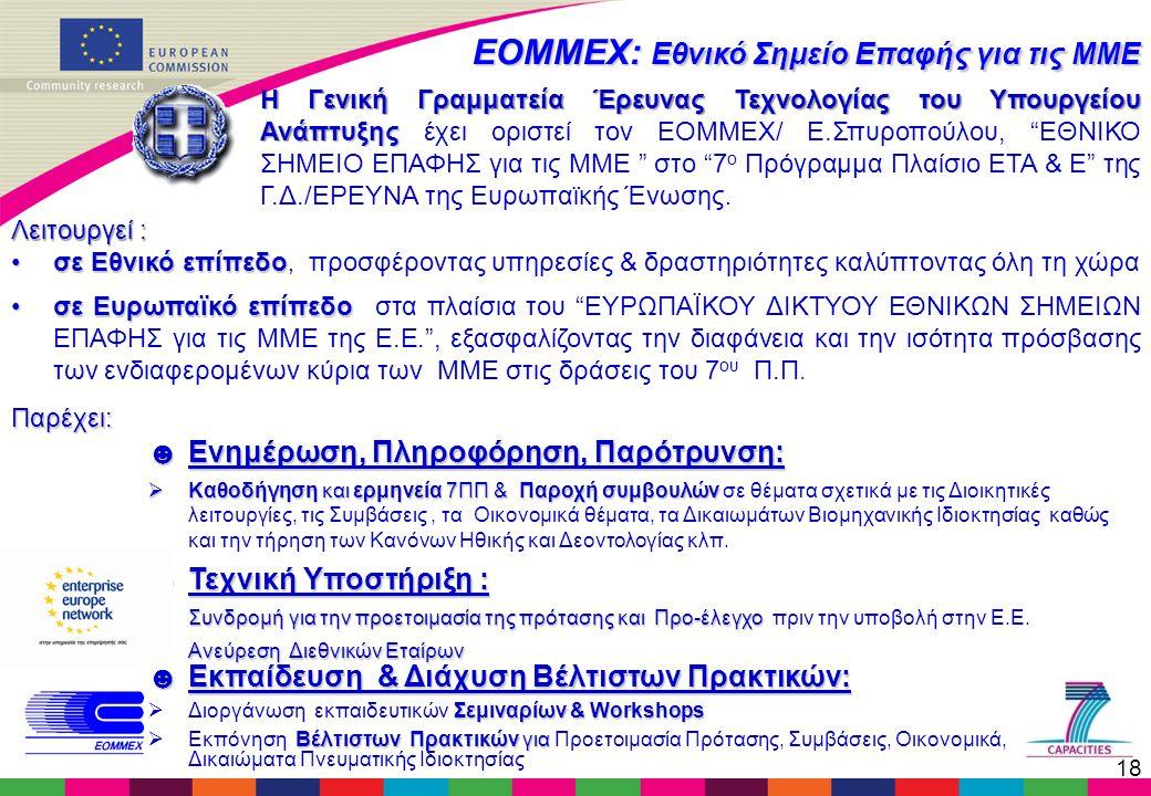 18 Η Γενική Γραμματεία Έρευνας Τεχνολογίας του Υπουργείου Ανάπτυξης Η Γενική Γραμματεία Έρευνας Τεχνολογίας του Υπουργείου Ανάπτυξης έχει οριστεί τον ΕΟΜΜΕΧ/ Ε.Σπυροπούλου, ΕΘΝΙΚΟ ΣΗΜΕΙΟ ΕΠΑΦΗΣ για τις MME στο 7 ο Πρόγραμμα Πλαίσιο ΕΤΑ & Ε της Γ.Δ./ΕΡΕΥΝΑ της Ευρωπαϊκής Ένωσης.