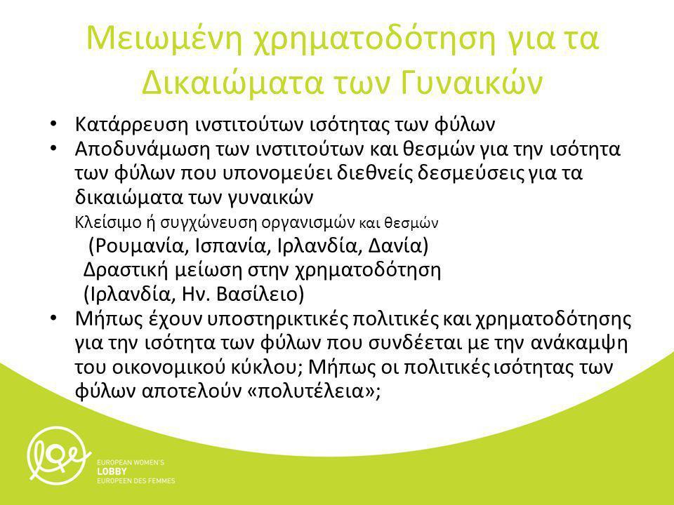 Κατάρρευση ινστιτούτων ισότητας των φύλων Αποδυνάμωση των ινστιτούτων και θεσμών για την ισότητα των φύλων που υπονομεύει διεθνείς δεσμεύσεις για τα δικαιώματα των γυναικών Κλείσιμο ή συγχώνευση οργανισμών και θεσμών (Ρουμανία, Ισπανία, Ιρλανδία, Δανία) Δραστική μείωση στην χρηματοδότηση (Ιρλανδία, Ην.