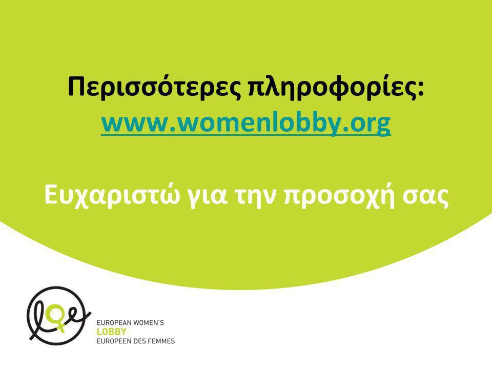 Περισσότερες πληροφορίες: www.womenlobby.org Ευχαριστώ για την προσοχή σας www.womenlobby.org