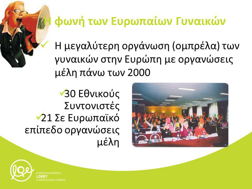 Η μεγαλύτερη οργάνωση (ομπρέλα) των γυναικών στην Ευρώπη με οργανώσεις μέλη πάνω των 2000 Η φωνή των Ευρωπαίων Γυναικών 30 Εθνικούς Συντονιστές 21 Σε Ευρωπαϊκό επίπεδο οργανώσεις μέλη