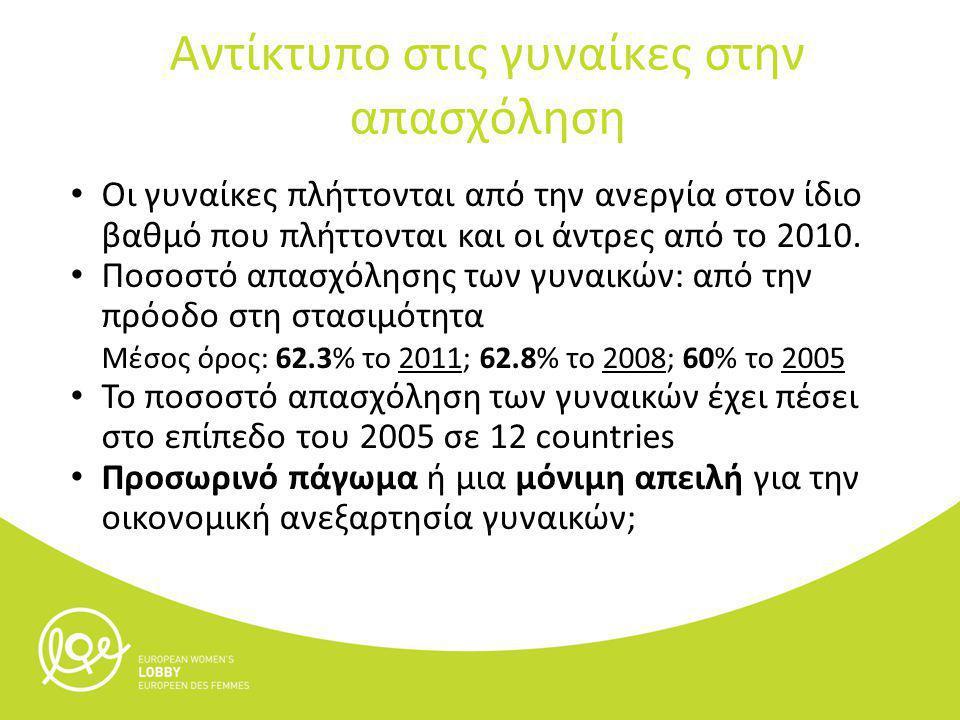 Αύξηση της ανασφάλειας της απασχόλησης Οι περικοπές των μισθών στο δημόσιο τομέα σπρώχνει τις γυναίκες σε οικονομική ανασφάλεια Ο ωριαίος μισθός μια νοσοκόμας με προσωρινή σύμβαση στην Πορτογαλία το 2012 είναι € 4, € 2 λιγότερα από το 2011 Με τις περικοπές σημαίνει μειώσει του μέσου όρου των μισθών των γυναικών, και αυτό θα σημαίνει οπισθοδρόμηση στην πρόοδο στη μείωση των διαφορών στις αμοιβές των δύο φύλων Ο μέσος όρος του χάσματος αμοιβών των φύλων είχε μειωθεί 2008- 2010 Θετική αυτή τάση έχει ήδη αντιστραφεί στη Ρουμανία και τη Λετονία.