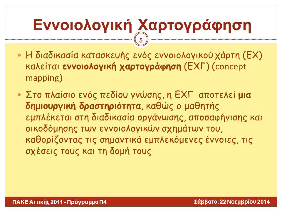 Ο ΕΧ: Συστατικά Στοιχεία (Ι) Σάββατο, 22 Νοεμβρίου 2014 ΠΑΚΕ Αττικής 2011 - Πρόγραμμα Π4 6 Κόμβοι: αναπαριστούν τις έννοιες (αντικείμενα ή γεγονότα ή ένα σύνολο από αντικείμενα/γεγονότα) και κάθε κόμβος έχει μια ετικέτα Σύνδεσμοι: προσδιορίζουν τις σχέσεις μεταξύ των εννοιών περιγράφοντας πώς μια έννοια συνδέεται με μια άλλη  Δύο κόμβοι συνδέονται μεταξύ τους με μια γραμμή, με ή χωρίς κατεύθυνση (όταν η σχέση δεν έχει κατεύθυνση αφορά μια ιεραρχική σχέση) και η γραμμή έχει μια ετικέτα που προσδιορίζει τη σχέση μεταξύ των δύο συνδεόμενων εννοιών Κεντρική έννοια: η βασική έννοια που περιγράφεται από τις έννοιες στις οποίες αναλύεται (συνήθως απεικονίζεται στην κορυφή του χάρτη) 6