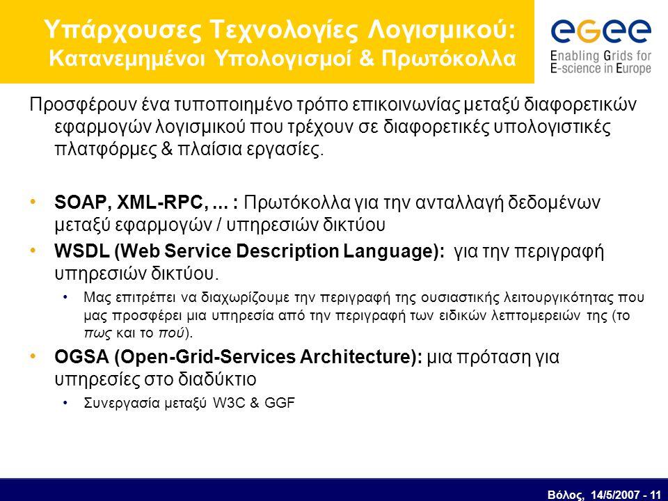 Βόλος, 14/5/2007 - 11 Υπάρχουσες Τεχνολογίες Λογισμικού: Κατανεμημένοι Υπολογισμοί & Πρωτόκολλα Προσφέρουν ένα τυποποιημένο τρόπο επικοινωνίας μεταξύ διαφορετικών εφαρμογών λογισμικού που τρέχουν σε διαφορετικές υπολογιστικές πλατφόρμες & πλαίσια εργασίες.
