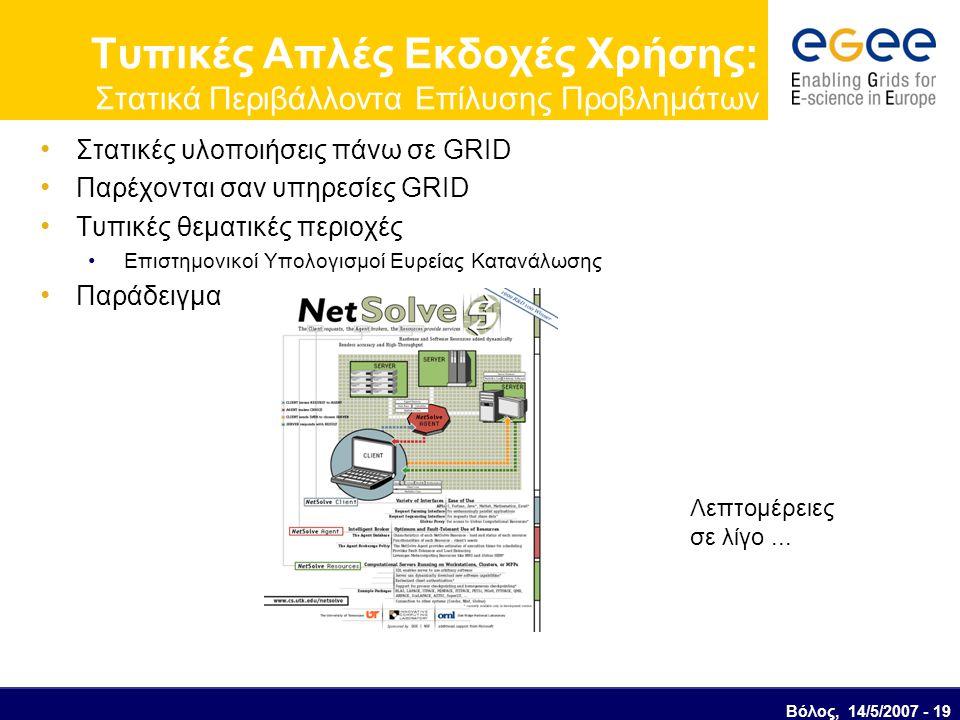 Βόλος, 14/5/2007 - 19 Τυπικές Απλές Εκδοχές Χρήσης: Στατικά Περιβάλλοντα Επίλυσης Προβλημάτων Στατικές υλοποιήσεις πάνω σε GRID Παρέχονται σαν υπηρεσίες GRID Τυπικές θεματικές περιοχές Επιστημονικοί Υπολογισμοί Ευρείας Κατανάλωσης Παράδειγμα Λεπτομέρειες σε λίγο...