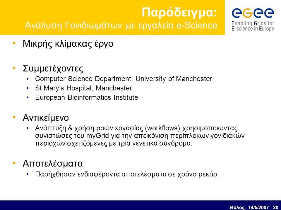 Παράδειγμα: Ανάλυση Γoνιδιωμάτων με εργαλεία e-Science Μικρής κλίμακας έργο Συμμετέχοντες Computer Science Department, University of Manchester St Mary's Hospital, Manchester European Bioinformatics Institute Αντικείμενο Ανάπτυξη & χρήση ροών εργασίας (workflows) χρησιμοποιώντας συνιστώσες του myGrid για την απεικόνιση περίπλοκων γονιδιακών περιοχών σχετιζόμενες με τρία γενετικά σύνδρομα.