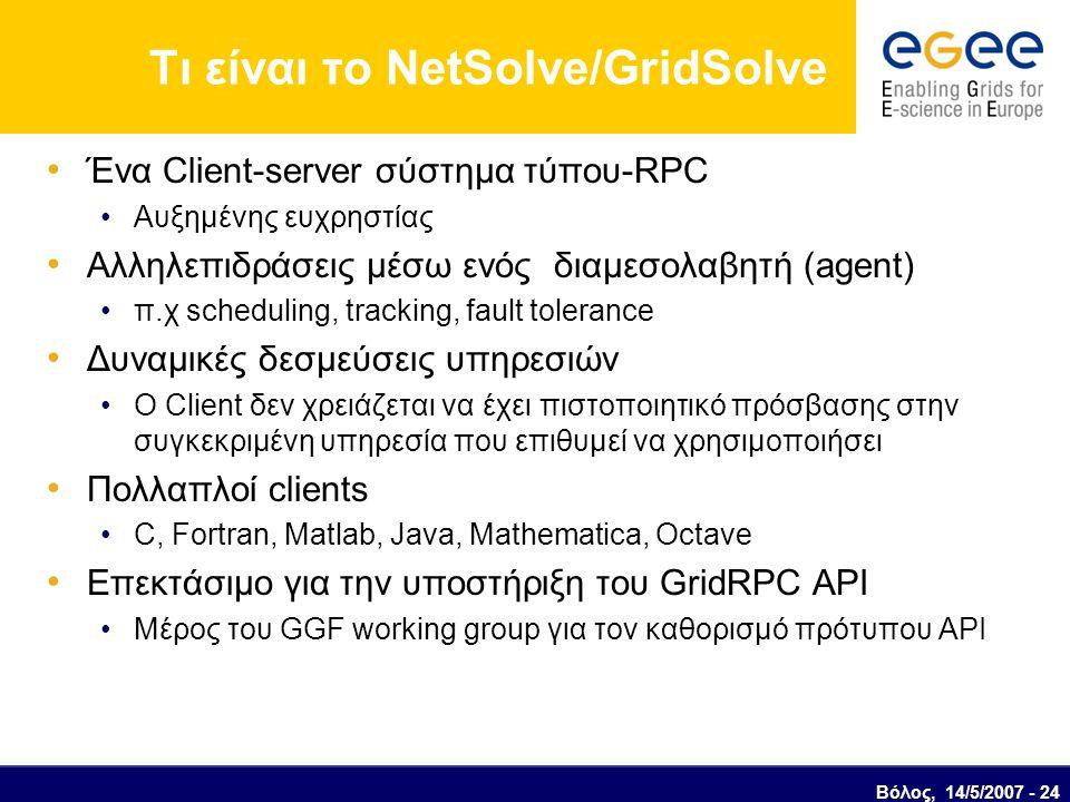 Τι είναι το NetSolve/GridSolve Ένα Client-server σύστημα τύπου-RPC Αυξημένης ευχρηστίας Αλληλεπιδράσεις μέσω ενός διαμεσολαβητή (agent) π.χ scheduling, tracking, fault tolerance Δυναμικές δεσμεύσεις υπηρεσιών Ο Client δεν χρειάζεται να έχει πιστοποιητικό πρόσβασης στην συγκεκριμένη υπηρεσία που επιθυμεί να χρησιμοποιήσει Πολλαπλοί clients C, Fortran, Matlab, Java, Mathematica, Octave Επεκτάσιμο για την υποστήριξη του GridRPC API Μέρος του GGF working group για τον καθορισμό πρότυπου API Βόλος, 14/5/2007 - 24