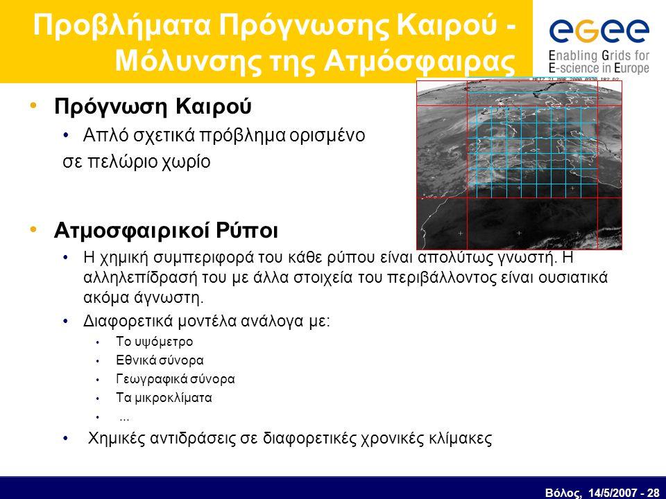 Προβλήματα Πρόγνωσης Καιρού - Μόλυνσης της Ατμόσφαιρας Πρόγνωση Καιρού Απλό σχετικά πρόβλημα ορισμένο σε πελώριο χωρίο Ατμοσφαιρικοί Ρύποι Η χημική συ
