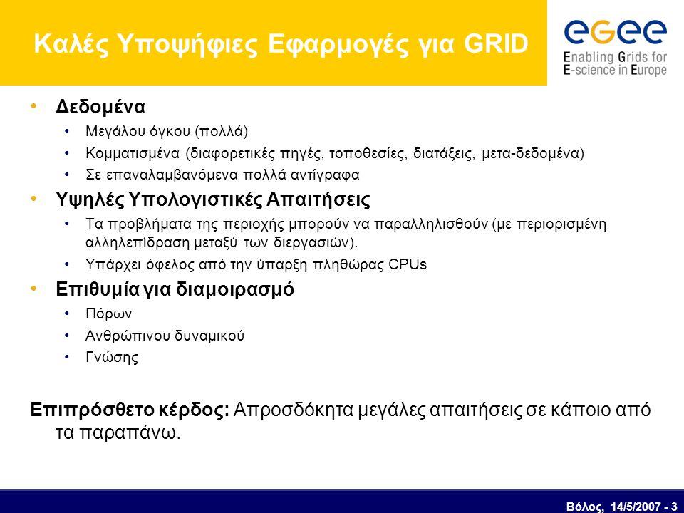 Βόλος, 14/5/2007 - 3 Καλές Υποψήφιες Εφαρμογές για GRID Δεδομένα Μεγάλου όγκου (πολλά) Κομματισμένα (διαφορετικές πηγές, τοποθεσίες, διατάξεις, μετα-δεδομένα) Σε επαναλαμβανόμενα πολλά αντίγραφα Υψηλές Υπολογιστικές Απαιτήσεις Τα προβλήματα της περιοχής μπορούν να παραλληλισθούν (με περιορισμένη αλληλεπίδραση μεταξύ των διεργασιών).