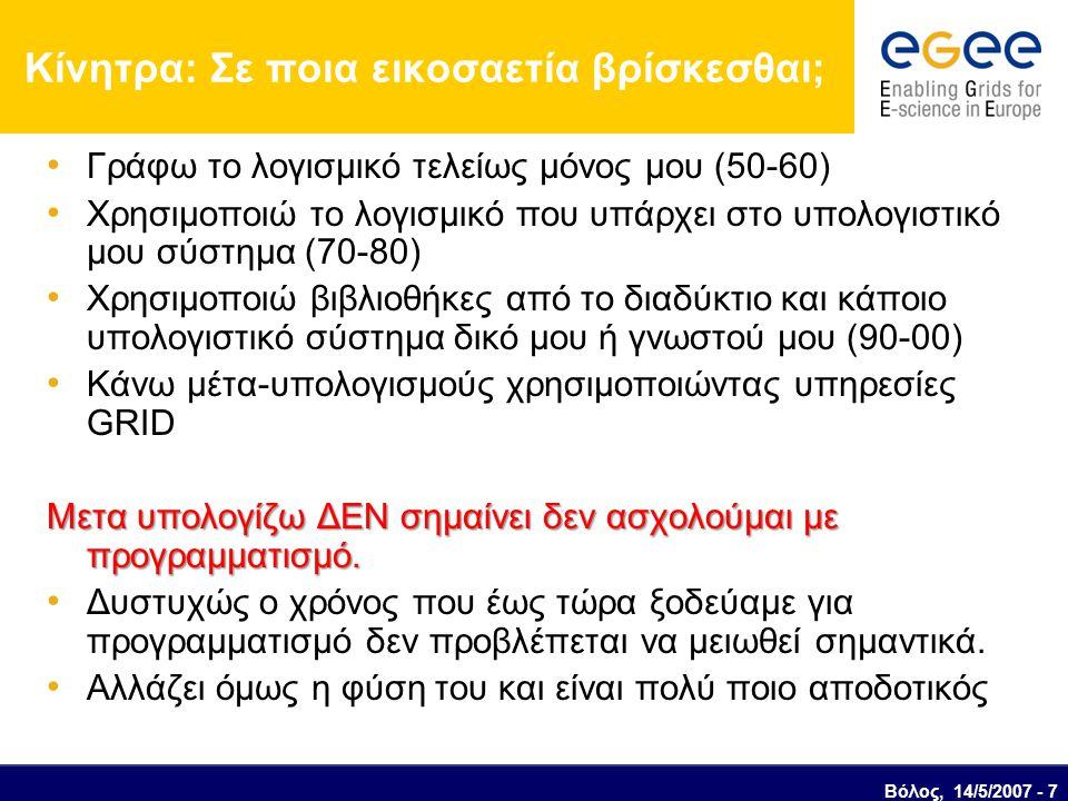 Βόλος, 14/5/2007 - 7 Κίνητρα: Σε ποια εικοσαετία βρίσκεσθαι; Γράφω το λογισμικό τελείως μόνος μου (50-60) Χρησιμοποιώ το λογισμικό που υπάρχει στο υπολογιστικό μου σύστημα (70-80) Χρησιμοποιώ βιβλιοθήκες από το διαδύκτιο και κάποιο υπολογιστικό σύστημα δικό μου ή γνωστού μου (90-00) Κάνω μέτα-υπολογισμούς χρησιμοποιώντας υπηρεσίες GRID Μετα υπολογίζω ΔΕΝ σημαίνει δεν ασχολούμαι με προγραμματισμό.