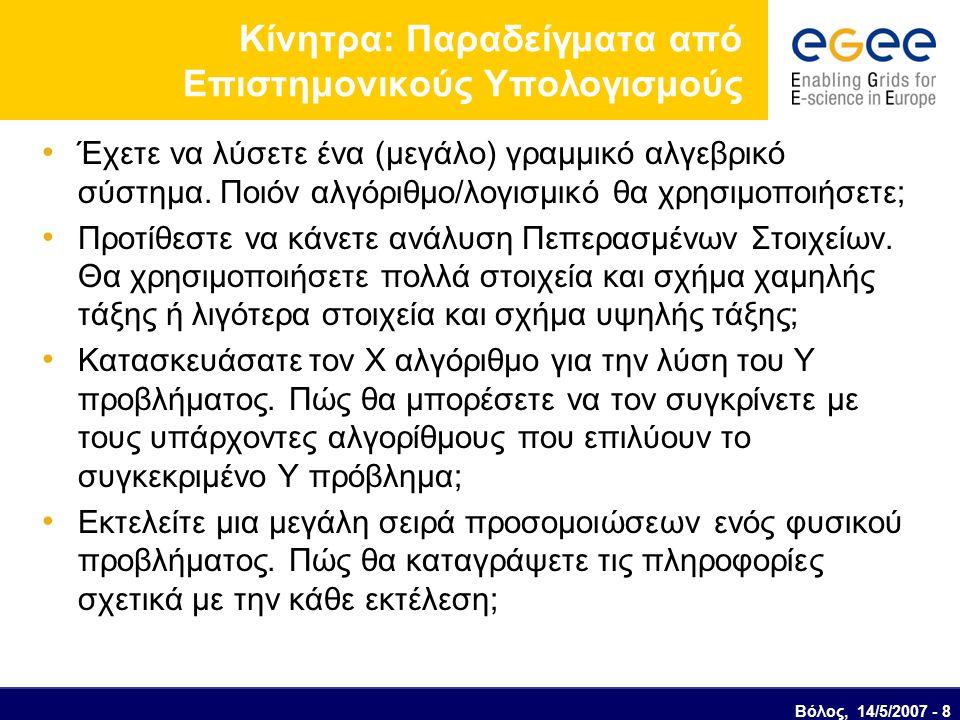 Βόλος, 14/5/2007 - 8 Κίνητρα: Παραδείγματα από Επιστημονικούς Υπολογισμούς Έχετε να λύσετε ένα (μεγάλο) γραμμικό αλγεβρικό σύστημα.