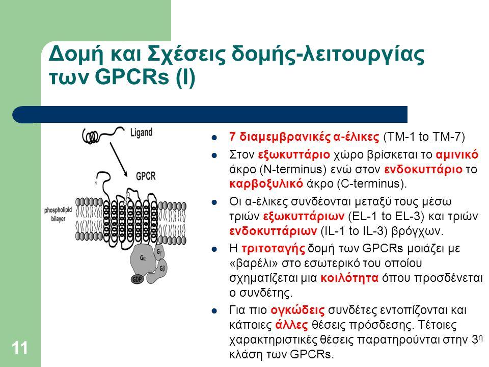 11 Δομή και Σχέσεις δομής-λειτουργίας των GPCRs (Ι) 7 διαμεμβρανικές α-έλικες (TM-1 to TM-7) Στον εξωκυττάριο χώρο βρίσκεται το αμινικό άκρο (N-terminus) ενώ στον ενδοκυττάριο το καρβοξυλικό άκρο (C-terminus).