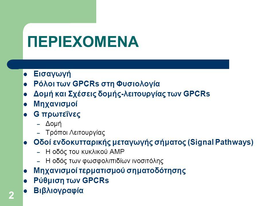 2 ΠΕΡΙΕΧΟΜΕΝΑ Εισαγωγή Ρόλοι των GPCRs στη Φυσιολογία Δομή και Σχέσεις δομής-λειτουργίας των GPCRs Μηχανισμοί G πρωτεΐνες – Δομή – Τρόποι Λειτουργίας Οδοί ενδοκυτταρικής μεταγωγής σήματος (Signal Pathways) – Η οδός του κυκλικού AMP – Η οδός των φωσφολιπιδίων ινοσιτόλης Μηχανισμοί τερματισμού σηματοδότησης Ρύθμιση των GPCRs Βιβλιογραφία