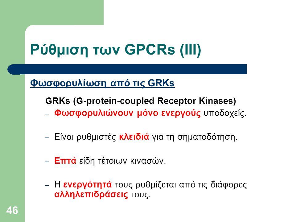 46 Φωσφορυλίωση από τις GRKs GRKs (G-protein-coupled Receptor Kinases) – Φωσφορυλιώνουν μόνο ενεργούς υποδοχείς. – Είναι ρυθμιστές κλειδιά για τη σημα