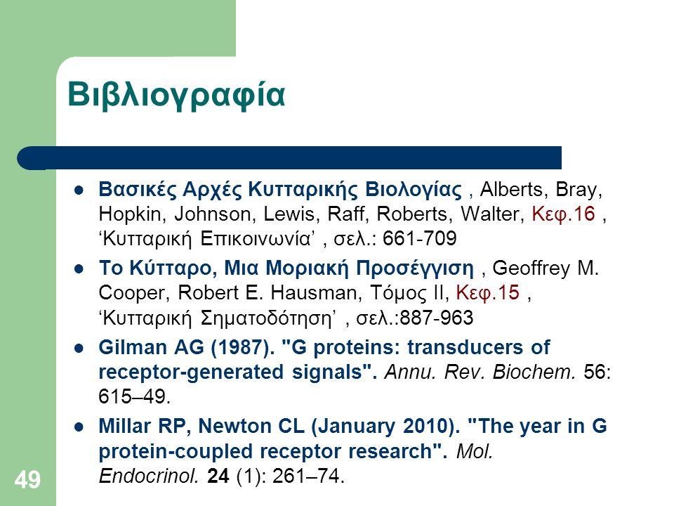 49 Βιβλιογραφία Βασικές Αρχές Κυτταρικής Βιολογίας, Alberts, Bray, Hopkin, Johnson, Lewis, Raff, Roberts, Walter, Kεφ.16, 'Κυτταρική Επικοινωνία', σελ.: 661-709 Το Κύτταρο, Μια Μοριακή Προσέγγιση, Geoffrey M.