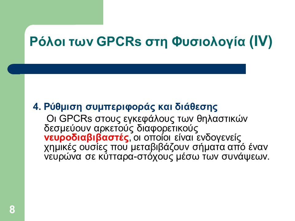 8 Ρόλοι των GPCRs στη Φυσιολογία (ΙV) 4. Ρύθμιση συμπεριφοράς και διάθεσης Οι GPCRs στους εγκεφάλους των θηλαστικών δεσμεύουν αρκετούς διαφορετικούς ν