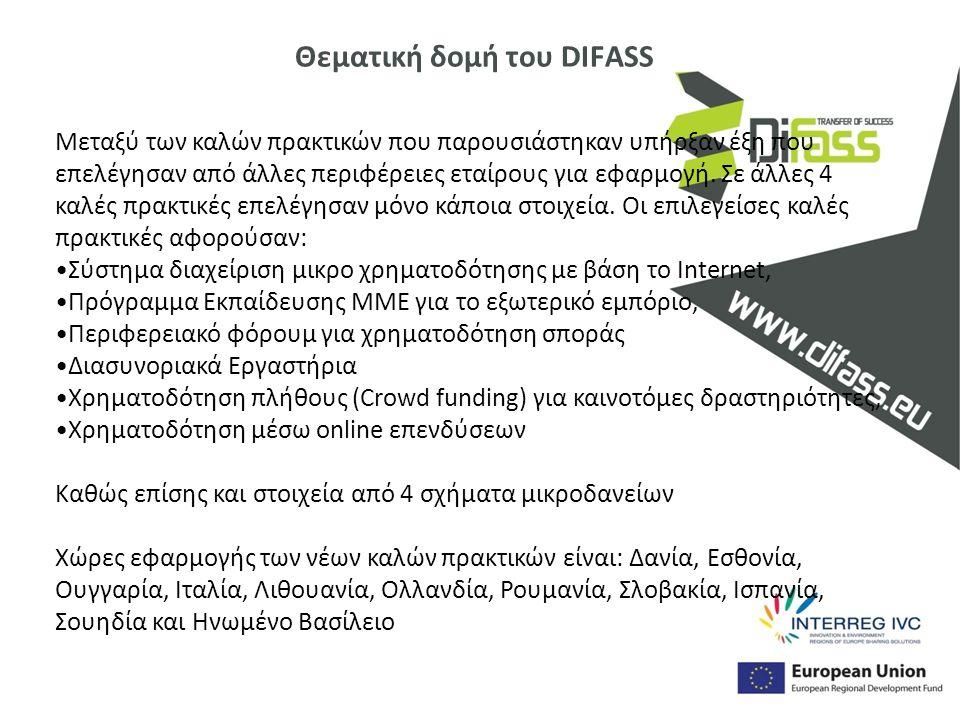 Θεματική δομή του DIFASS Μεταξύ των καλών πρακτικών που παρουσιάστηκαν υπήρξαν έξη που επελέγησαν από άλλες περιφέρειες εταίρους για εφαρμογή. Σε άλλε
