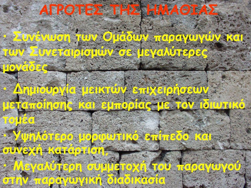 22 ΝΟΜΑΡΧΙΑ ΗΜΑΘΙΑΣ-ΟΤΑ (5) Αναβάθμιση της Διεύθυνσης Γεωργίας του Νομού (Μηχανοργάνωση, πρόσθετο προσωπικό με εξειδίκευση, κ.ά.), Καλλιέργεια κλίματος συνεργασίας μεταξύ όλων των φορέων που εμπλέκονται στην παραγωγική διαδικασία και καθιέρωση αγροτικού συνεδρίου κάθε 2-4 χρόνια