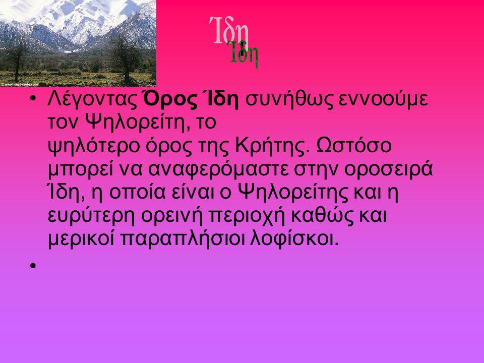 ι Λέγοντας Όρος Ίδη συνήθως εννοούμε τον Ψηλορείτη, το ψηλότερο όρος της Κρήτης. Ωστόσο μπορεί να αναφερόμαστε στην οροσειρά Ίδη, η οποία είναι ο Ψηλο