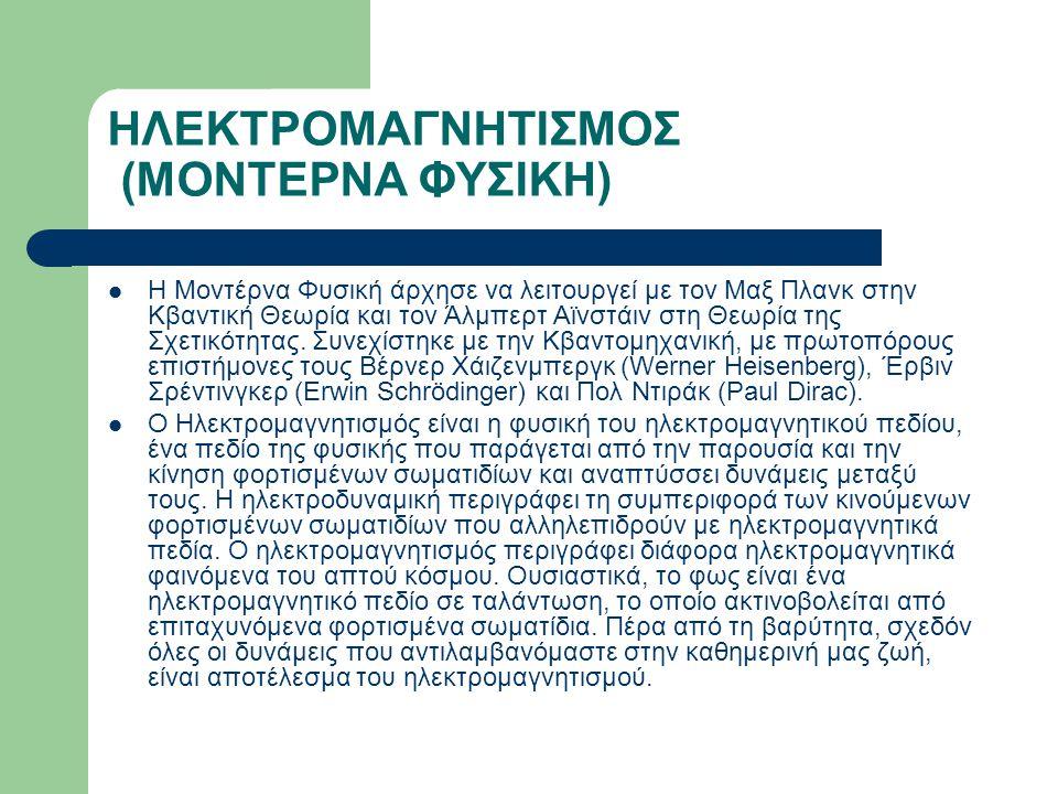 ΗΛΕΚΤΡΟΜΑΓΝΗΤΙΣΜΟΣ (ΜΟΝΤΕΡΝΑ ΦΥΣΙΚΗ) Η Μοντέρνα Φυσική άρχησε να λειτουργεί με τον Μαξ Πλανκ στην Κβαντική Θεωρία και τον Άλμπερτ Αϊνστάιν στη Θεωρία